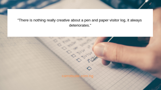 Pen and paper visitor management system
